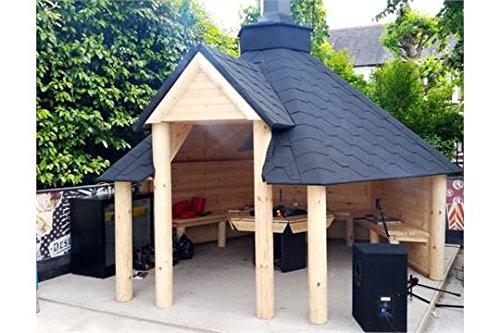 Open Houten BBQ Hut 9.2m2 - Zomerhuis - Grill Hut - Teak House - Wordt geleverd met Bitumen Tegels, BBQ Grill/Vuur met Kookplaten, Tafel rond de Grill; Verstelbare Schoorsteen & 3 Interieur Banken