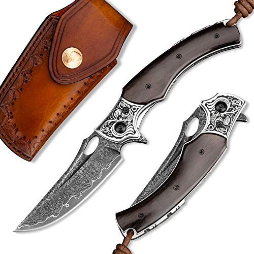 NEWOOTZ Damascus Steel Folding Knife,Handmade Japanese VG10 Core Blade and Ebony Wood Liner Lock Handle,EDC Pocket Knives with Leather Sheath for Men Outdoor Camping and Hunting (Belt Sheath)