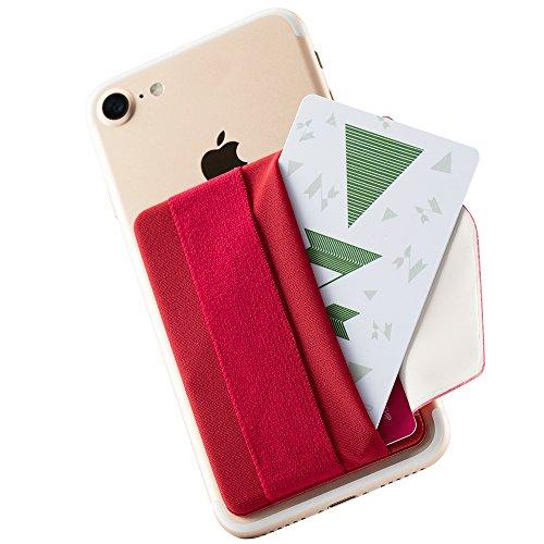 Sinjimoru Handy Kartenhalter mit Handygriff, Handy Halterung Finger mit Kartenfach, Smart Wallet, aufklebbare Mini Geldbörse mit Verschluss für iPhone und Android. Sinji Pouch B-Flap, Rot.