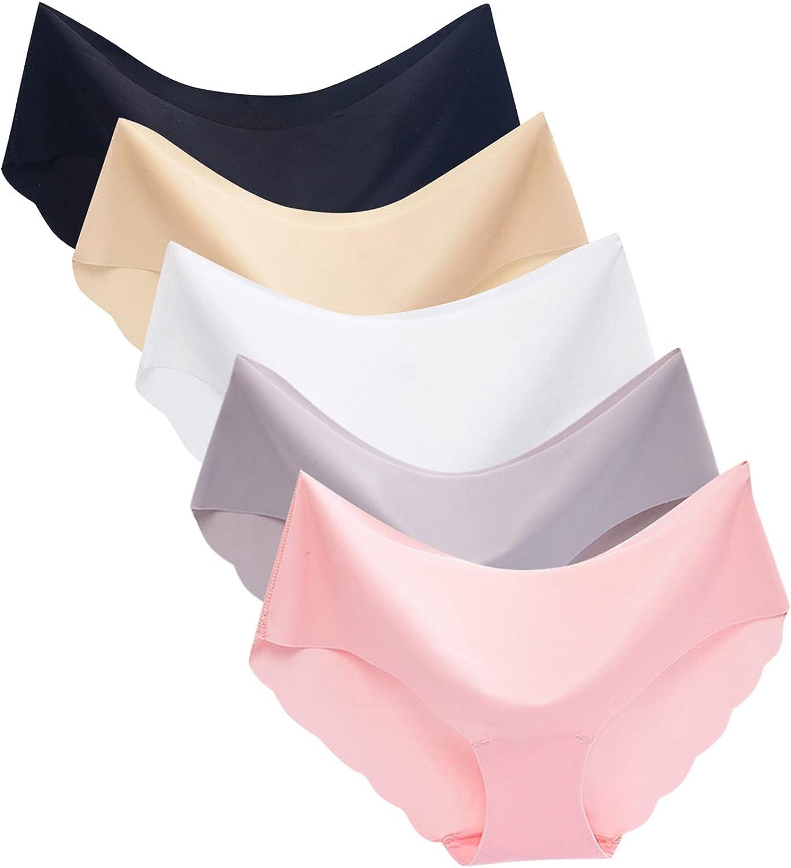 JUNGE 4/5 Pack Women's Underwear MidWaist Hipster Panties Ice Silk Seamless Underwear Briefs Underpant Breathable Undies