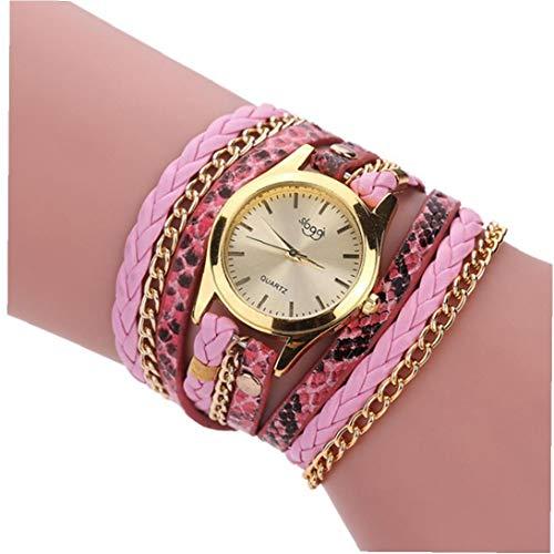 Reloj De Pulsera De Cuarzo De Las Mujeres De La Moda del Reloj Analógico con La Vendimia Tejida Cuero De La Armadura De Metal Serpentina Brazalete De Muñeca Casual Reloj Pinjk