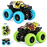 M SANMERSEN Pull Back Cars, 2 Pack Monster Toys Cars Mini Friction Powered Vehicle with Shockproof Spring and Rubber Wheel Early Educational Toy Best Gifts for 3-12 Year Old Boys Girls