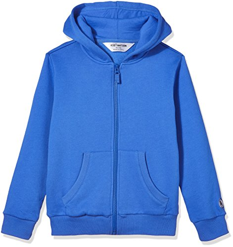 Kid Nation Kids' Soft Brushed Fleece Zip-Up Hooded Sweatshirt Hoodie for Boys or Girls XL Gray Blue