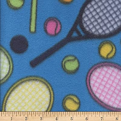 Newcastle Fabrics Fleece Print Tennis Turquoise Fabric by the Yard
