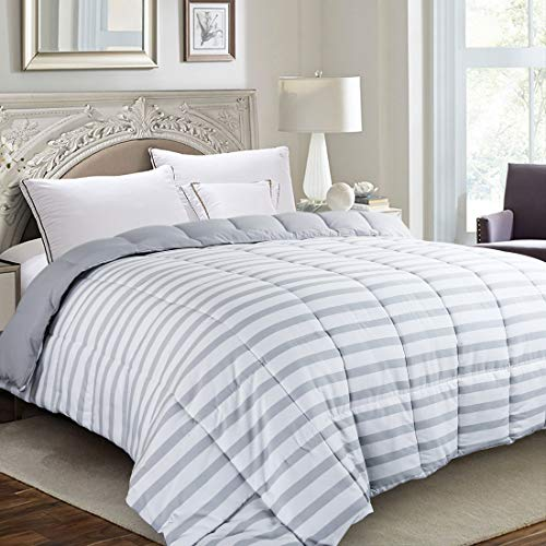 EDILLY Luxury Down Alternative Quilted King Comforter-Stand Alone Comforter for King Size Bed,Year Round Duvet Insert with 4 Corner Tabs Gray White Stripe