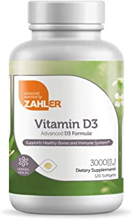 Zahler Vitamin D3 3000IU, Vitamin D3 Supplement 3000 IU, Certified Kosher, 120 Softgels