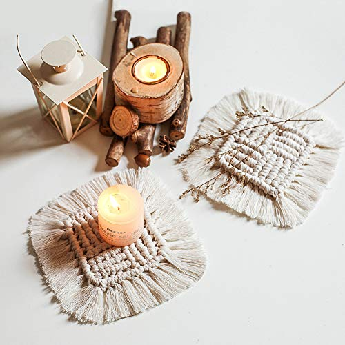 5 sottobicchieri in macramè fatti a mano in cotone intrecciato a mano, forma quadrata, stile bohémien, antiscivolo, decorazione da tavolo, bar, candele, bevande, birra, caffè