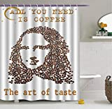 Aliyz Rostro de Mujer Joven con Granos de café con Comillas patrón de Arte Creativo Cortina de Ducha de baño Duradera y fácil de Lavar Adecuada para baño habitación de Hotel