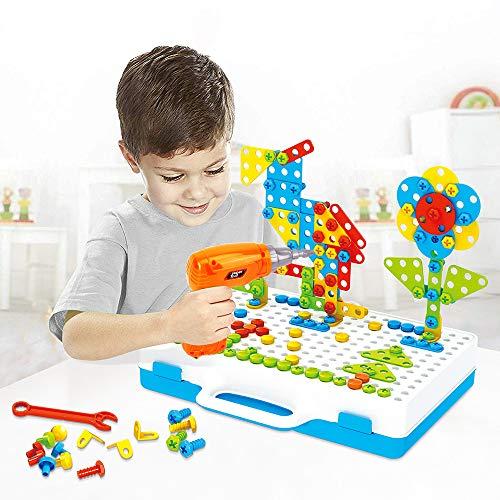 Lekebaby Steckspiel Bohrmaschine 237PCS Mosaik Spielzeug Bohrer Kreatives DIY Werkzeuge Spielzeug für Kinder Jungen Mädchen