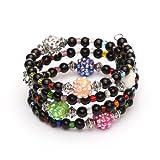 Idin Armband - Modeschmuck Glasperlen Schwarz Wickelarmband Perlen Strass multi-Harz, aus Glas, tibetischer Stil Perlen und memory wire Stahl
