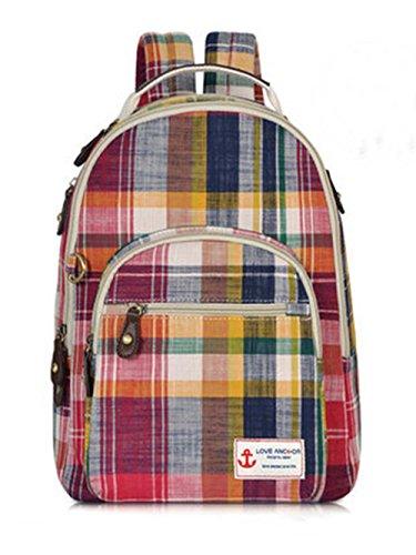 Sacs Plaid Voyage en Coton Sacs à Dos Randonnée en Plein air Sac à Dos école