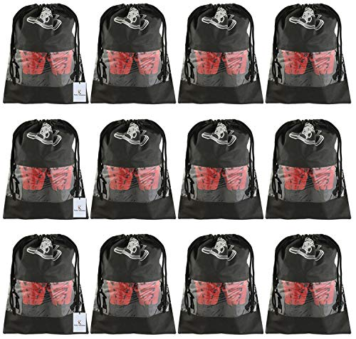 Kuber Industries 12 Piece Non Woven Travel Shoe Cover, String Bag Organizer, Black – CTLTC039515