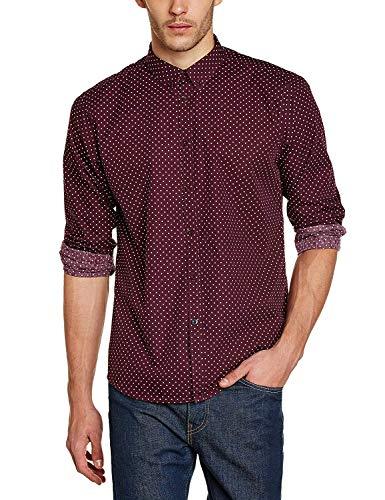 Merc of London SIEGEL, Shirt,Long Sleeve, Polka Dot Chemise habillée, Rouge (Wine), Large (Taille Fabricant: L) Homme