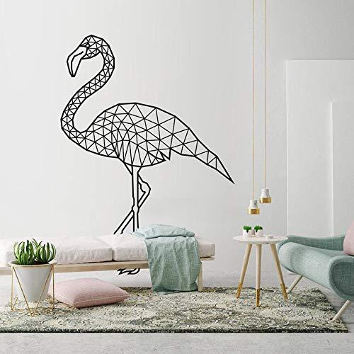 Pegatina de flamenco, calcomanía de arte de pared geométrica, calcomanías de contornos de animales, decoración de habitación de arte moderno, murales de bricolaje A4 41x57cm