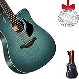 アコースティックギター GDMING フォークギター 初心者 単板 木製ギター 41インチ フルサイズ ドレッドノート 断面図 スプルース 調整可能なコード ストラップ チューナー スペアストリング (Color : Green, Size : 41 inches)