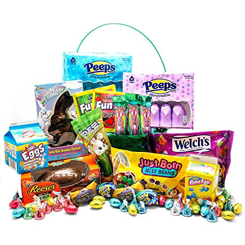 Ultimate Candy Basket Bundle - Massive Premade Gift Basket filled w/ Various Candies - Contains Reese's Chocolate, Marshmallow Peeps, Cadbury Eggs, Robin Eggs, Fun Dip, and More!