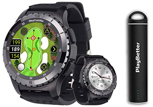 SkyCaddie LX5C GPS Watch Power Bundle | 2020 Model | +PlayBetter Portable Charger | Ceramic Bezel, IntelliGreen & Pinpoint Technology | Golf Smartwatch