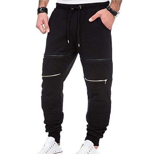 fc03b5c24 junkai Mens Hip Hop Pants Jogging Leisure Trouser Zip Patchwork Sweatpants  Tracksuit Bottoms Fitness Sport Wear