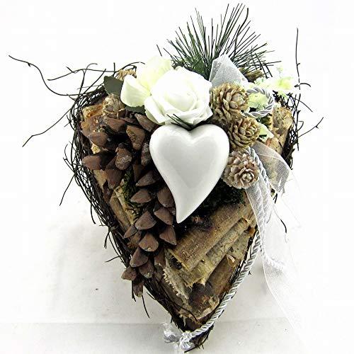 Small-Preis Grabgesteck - Grabschmuck - Grabaufleger Herz mit Rose weiß 076