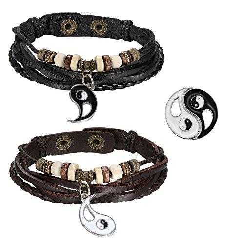 OIDEA Paar(2PCS) Anhänger, Edelstahl Tai Chi Yin und Yang Partner-Anhänger mit 45cm und 55cm Kette Halskette, Silber Schwarz (Ying Yang Armbänder)