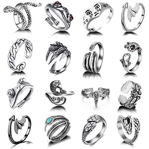 16 Pcs Vintage Open Frog Rings Set Knuckle Stacking Ring Snake Ring Boho Finger Rings for Women Men Girls
