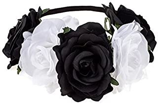 CoCoHe Rose Flower Crown Headband Hair Wreaths for Wedding Festivals Holiday (Black and White)