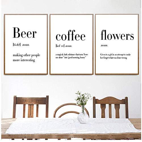 Minimalistische Art Definition Bier Koffie Wijn Quotes Posters Print Nordic Keuken Kamer Wall Art Foto Home Decor Canvas Schilderij-40x60x3Pcscm Geen Frame