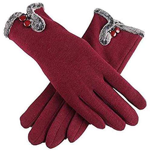 Handschoenen dames herfst/winter nonfleece fluwelen warme kanten handschoenen met lange vingers, katoenen dameshandschoenen met touchscreen