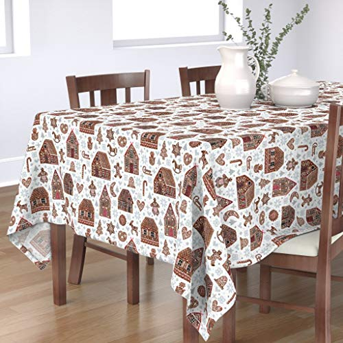 Roostery Tablecloth, Gingerbread Christmas Holiday Cross Stitches Crossstitch House Cookies Xmas Print, Cotton Sateen Tablecloth, 70in x 108in