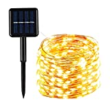 Pantula Solar Fairy Lights Outdoor, 100 LED Fairy String Lights Solar Powered Waterproof 33Ft Solar Twinkle Lights Outside 8 Modes Copper Wire Lights for Garden, Patio, Yard (Warm White 1)