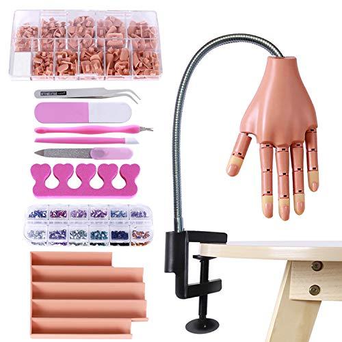 Übungshand für Acrylnägel, Mannequin-Hände, zum Üben von Nägeln, Nagel-Training, Hand-Kit, silberfarben