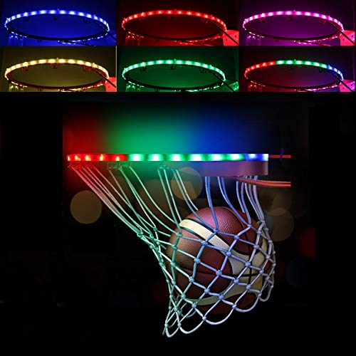 LED Basketball Hoop Lights Outdoors, 100 Lumen Waterproof Basketball Rim Lights, Light Up Basketball Rim Net Backboard, for Playing Training Parties Sport Games at Night, Great Gift for Kids Boys