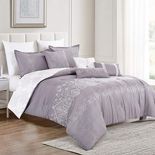Living Quarters 7 Piece Jaymes Oversized Luxury Bed in Bag Microfiber Comforter Set (Purple, Queen) (21906_Purple_Q)