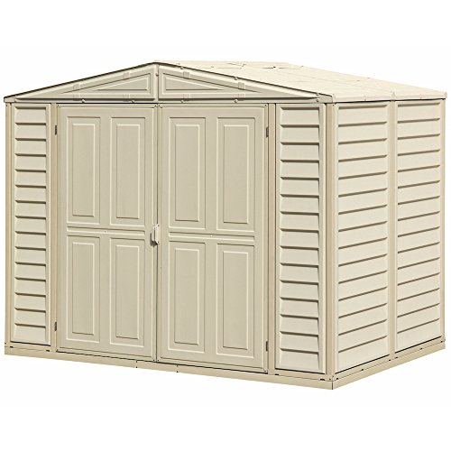 Duramax DuraMate 8' x 6' Plastic Garden Shed with Foundation Kit - Ivory - 15 Years Warranty