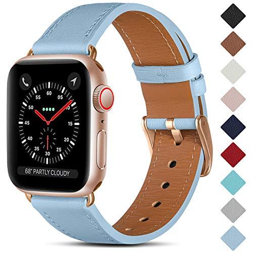 CeMiKa Correa de Cuero Compatible con Apple Watch Correa 38mm 40mm 42mm 44mm, Correas de Repuesto de Cuero Genuino Compatible con iWatch SE/Series 6 5 4 3 2 1, 42mm/44mm, Cielo Azul/Oro Rosa