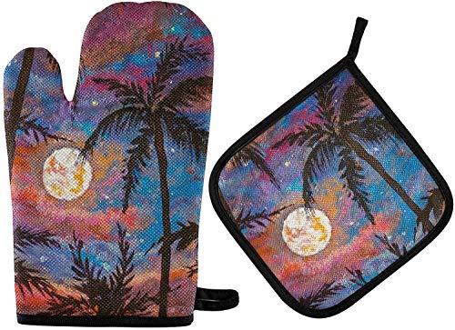 MODORSAN Lila Rosa Sonnenuntergang Ofenhandschuhe und Topflappen-Sets 2-teilige Tropische Baumküche hitzebeständig mit rutschfesten Grillhandschuhen aus Polyester für Küche,Kochen,Backen,Grillen