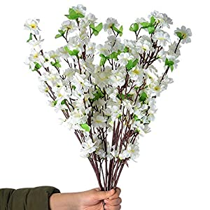 Callu 10Pcs Artificial Flowers Peach Blossom Simulation Peach Branches Flowers Silk Peach Flowers Bouquets Faux Spring Peach Fake Plants for Wedding Home Christmas Indoor Outdoor Decorative (White)