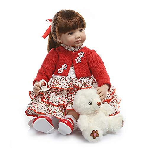 Zero Pam 24 Inch Reborn Baby Dolls Toddlers Doll - Red Dress Girl - 60CM LifeLike Reborn Child Dolls Gentle Touch Soft Body Realistic Kid Dolls Best Children Gifts