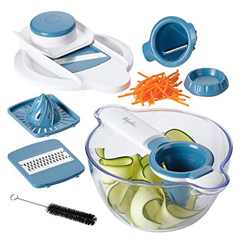 Ayesha Collection 5-in-1 Mandoline & Spiralizer Set, Twilight Teal - 47504
