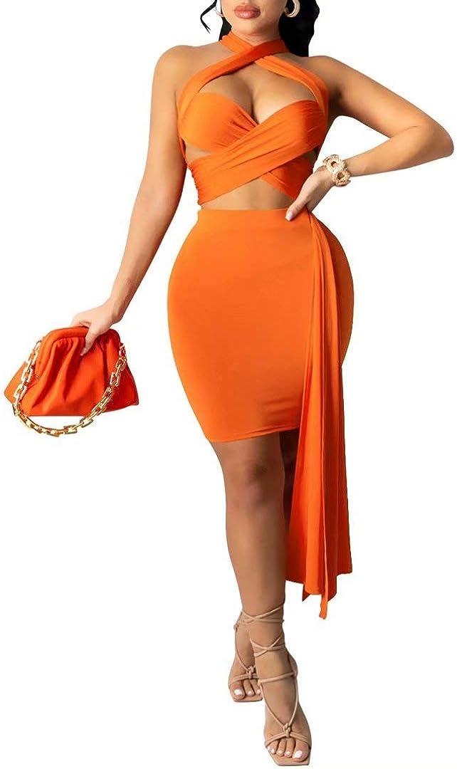 Women's Sexy Halter Neck Bandage Crop Top Bodycon Skirt 2 Piece Outfits Dress Clubwear