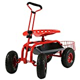 Sunnydaze Garden Cart Rolling Scooter with Extendable Steer Handle,...