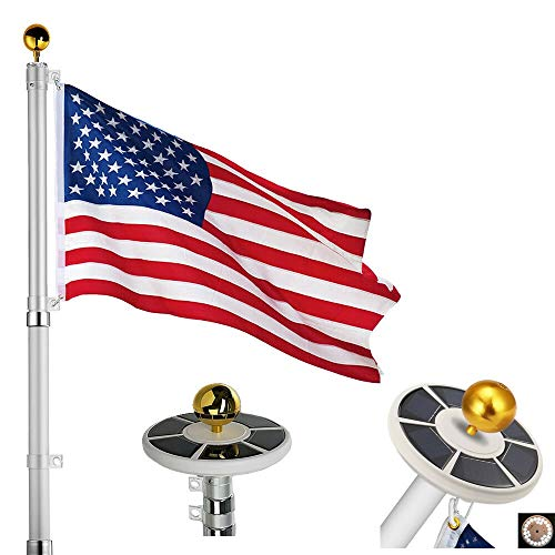 25Ft / 20Ft Telescopic 16 Gauge Aluminum Flag Pole with Solar Lights (25 Ft)