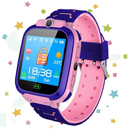 Reloj inteligente para niños Teléfono -Niños SmartWatches Pantalla táctil Pantalla táctil HD con rastreador LBS Llamada Cámara Despertador Adecuado de 4 a 12 naños Niñas Regalos de cumpleaños (Rosa)