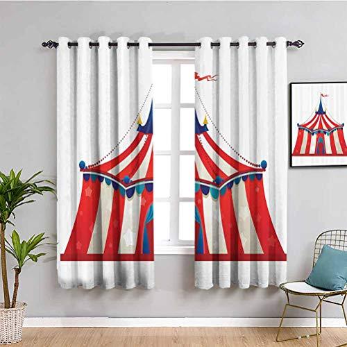 Circus Decor Premium Cortinas opacas coloridas rayas circo carpa carpa con estrellas bandera carnaval rendimiento ilustración tela impermeable W72 x L72 pulgadas