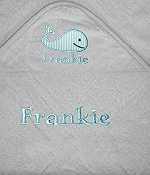 Our baby personalised Whale applique embroidered baby wrap towels with integrated hoods are made of 100% cotton towelling material with a corresponding trim border and measure approx. 75cm x 75 cm. They are available in two colours Baby blue and whit...