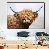 KWzEQ Art Highland Cow Canvas Art Painting Nordic Style Poster Print Sala de Estar, Dormitorio Canvas,Pintura sin Marco,80X120cm
