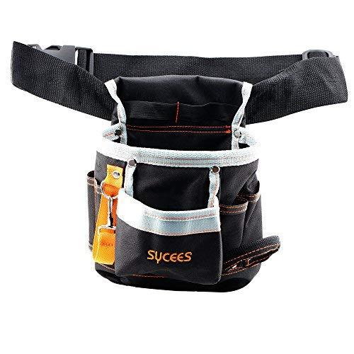 SYCEES-Bolsa herramientas con cinturón ajustable para herramientas manuales y eléctricas, riñonera de herramientas, Bolsa de cintura para trabajo