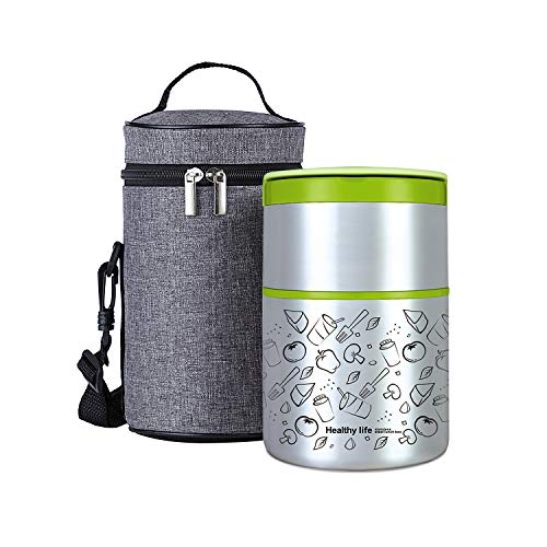 Lille Home Vacuum Insulated Stackable Stainless Steel Thermal Lunch/Snack box, 2-Tier Bento /Food Container with Lunch bag, Smart Diet, Weight Control, 32 Ounces, Green