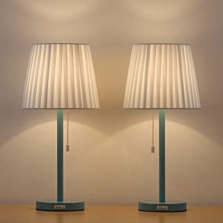 HAITRAL Modern Bedside Lamps - Contemporary Table Lamps Set of 2 with White Fabric Shade, Pull Chain Switch, Stylish Desk Lamps for Bedroom, Office, Girls Room, Ideal Gifts - (HT-TH14-07X2)