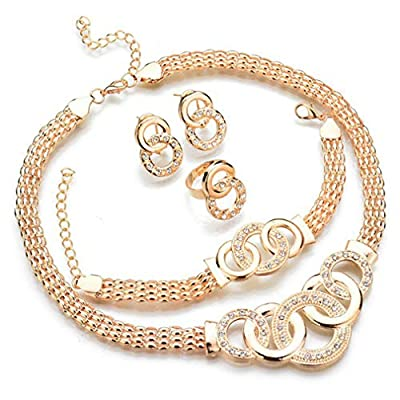 Spiritlele 4 PCS Crystal Jewelry Set Golden Chain Necklace Bracelet Ring Earrings Set For Women